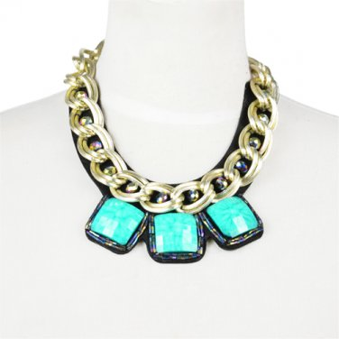 oversized turquoise pendant chain necklace BIB style collar choker Thick NL-2062