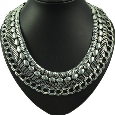 vintag metal layered choker necklace mesh chain oversized necklace NL-1712