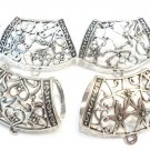 Scarf Jewelry Zinc Alloy Silver Floral Bails Charm Pendant Accessories Sold 4pcs