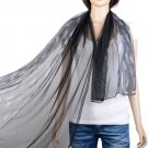 simple color scarf,half feather printing half solid design scarf for her,NL-2133