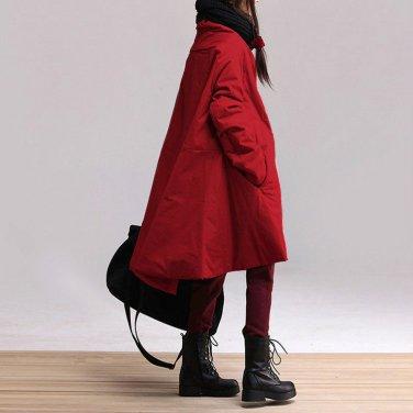 4colors plus size cotton casual maxi blouse long-sleeved cotton coat irregular