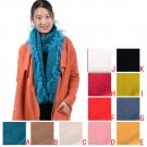 women warm curly scarves with lace edge,12 colors,winter scarf,NL-2138