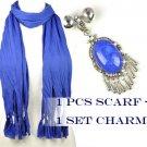 DIY fashion Blue winter scarf add jewelry resin stone charms PT-387O PT-631A