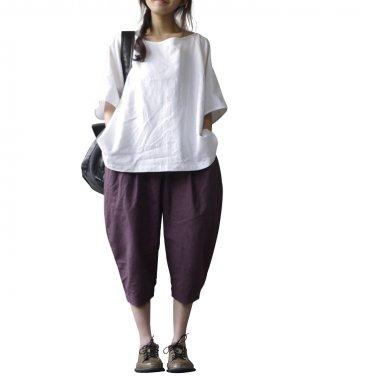 linen white loose nature women blouse plus size t-shirt summer tops AN-103