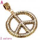 Free shipping 1pcs peace symbol jewelry pendant with rhinestones,PT-829