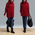 red Knitwear plus size blouse Loose long-sleeved cotton coat oversize  AOLO-522