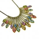 NEW! multicolor peacock tail collar with vintage style for her NL-2116