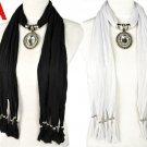 Black & white oval shaped charm big glass stones pendant scarves lencos NL-1805