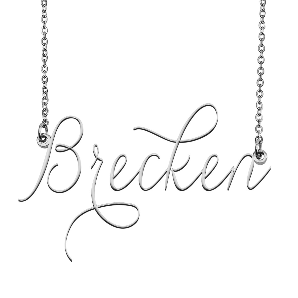Brecken Name Necklace Custom Personalized Name Plate ...