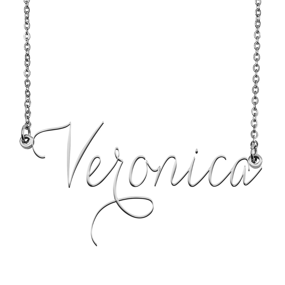 Veronica Name Necklace Custom Personalized Name Plate Jewelry for Birthday Christmas Gift