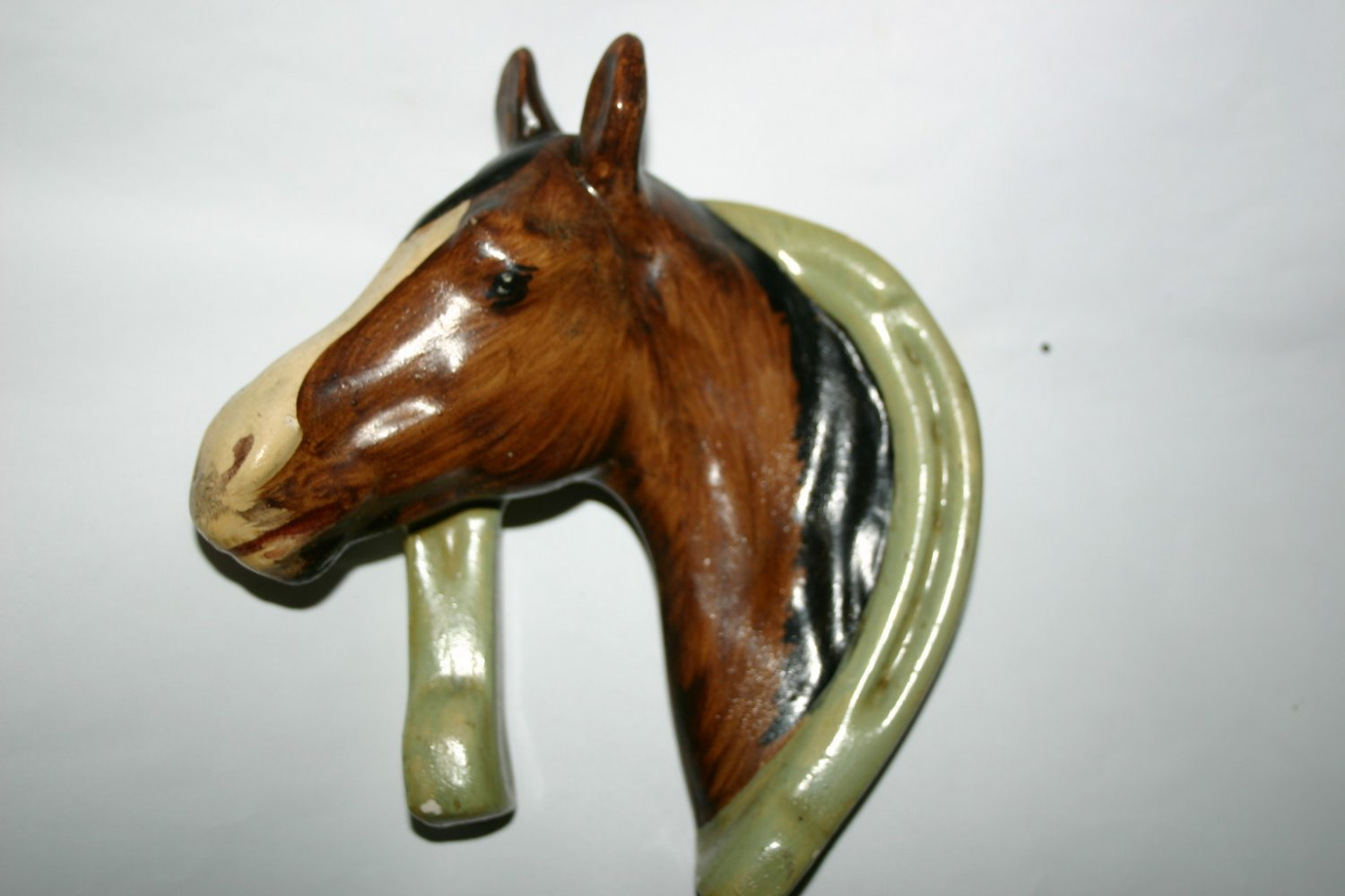 Vintage Rare Horse and Horse Shoe Ceramic Wall Hanger