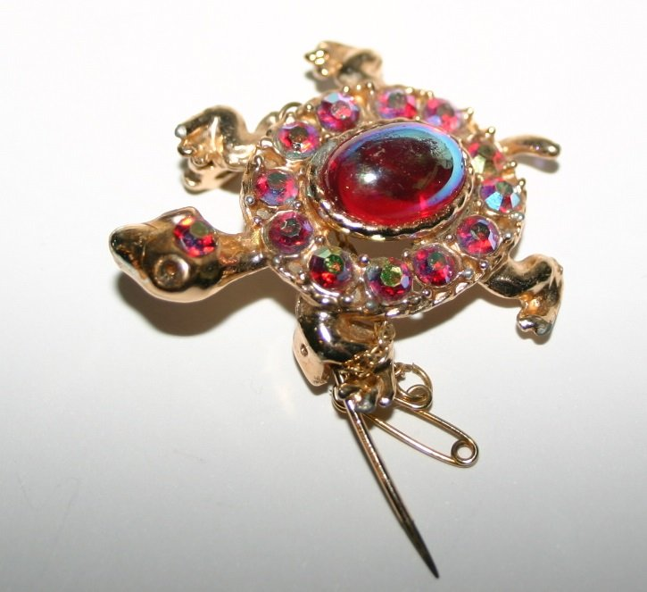 Golden Tortoise Brooch With Safety Clasp and Red Stones