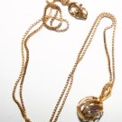 Fine Gold Chain with Pendant Cage Encapsulating Crystals