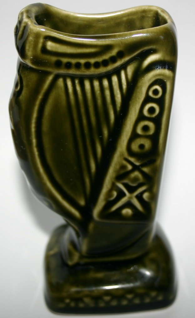 Vintage Wade Ireland Pottery Green Good Luck Harp