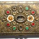 Vintage Golden Engraved Floral Jewelled Card Case