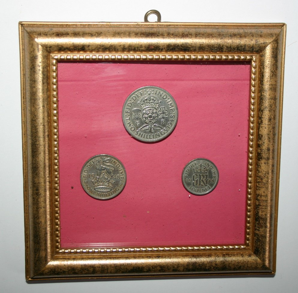 Framed Set Of Vintage 1948 English Coins Two Shilling One Shilling and Sixpence