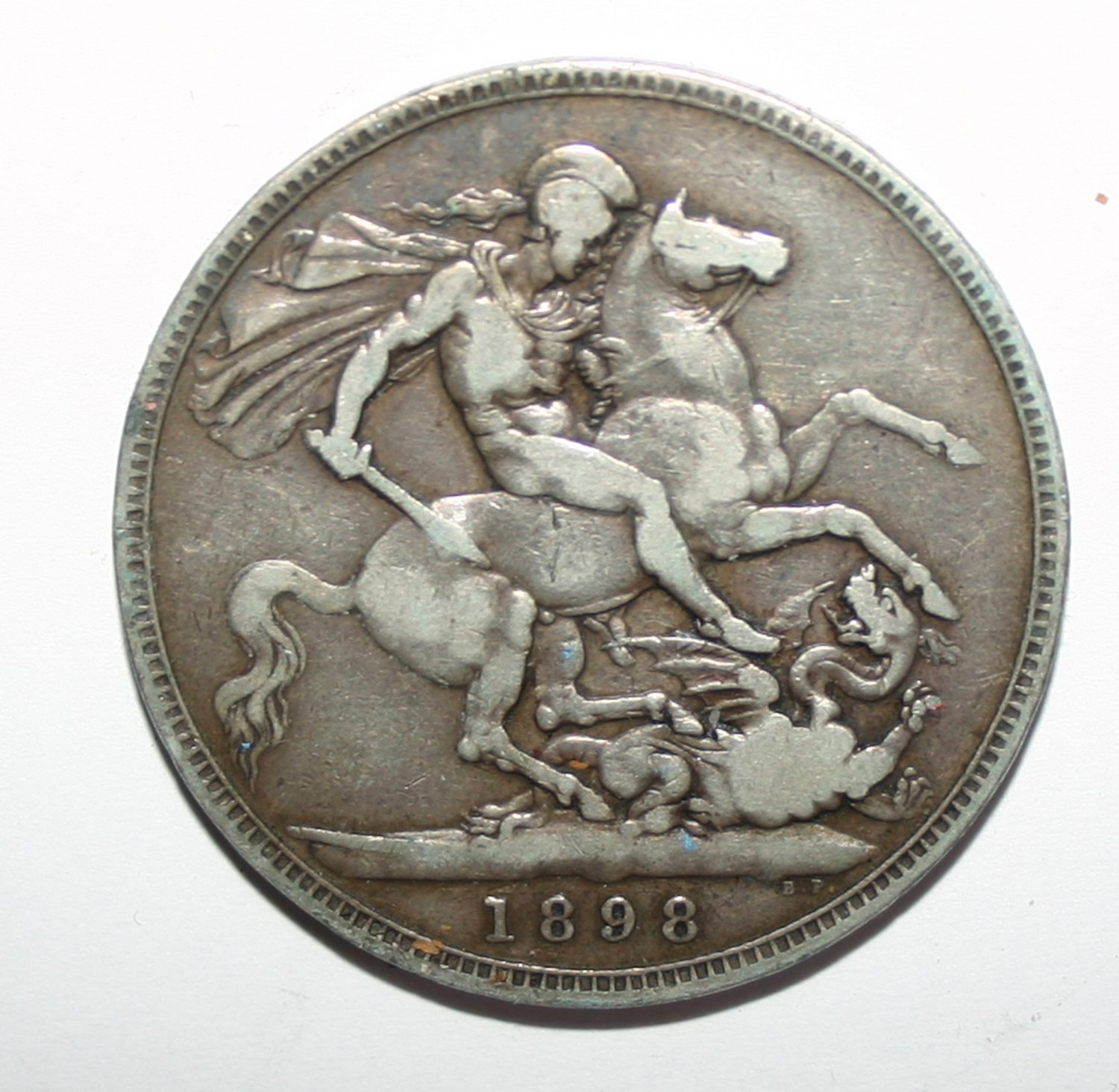 Queen Victoria LXII 1898 Silver George and Dragon Crown Coin
