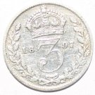 1897 Queen Victoria British Silver Widow Head Threepence Coin