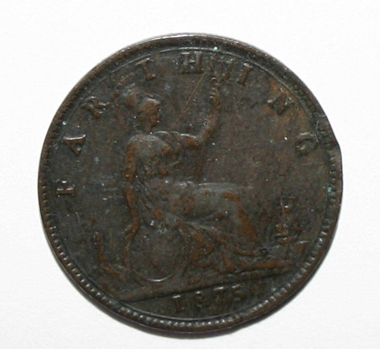 Queen Victoria Young Bun Head 1875 H Farthing Coin Broken O and F on R.E.G