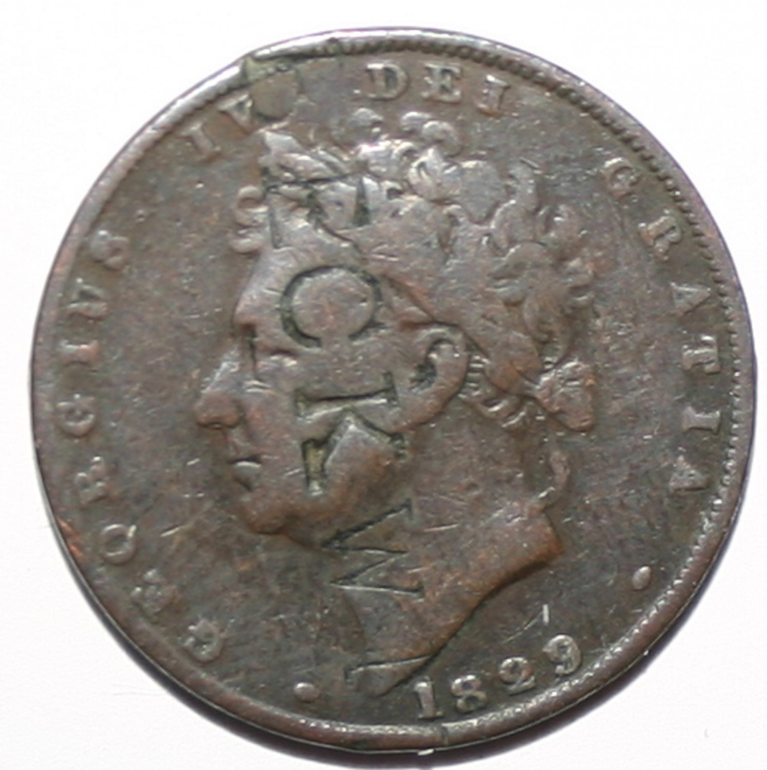 King George IV Farthing 1829 Stamped E.C.K.W Coin Mysterious