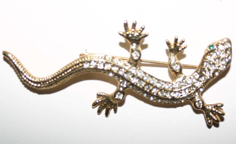 Vintage Golden Diamond Encrusted Lizard Brooch