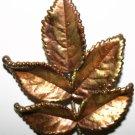 Vintage Large Copper Leaf Brooch