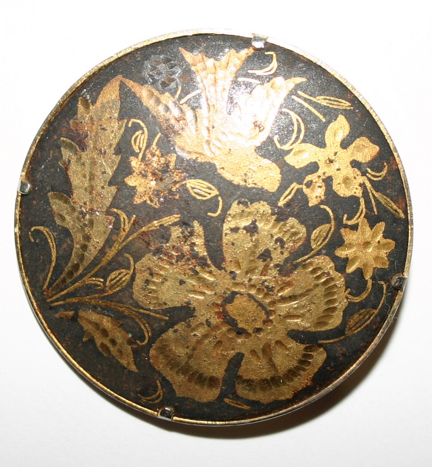 Vintage Circular Gold and Black Brooch Featuring Nature Scene Bird and Flowers