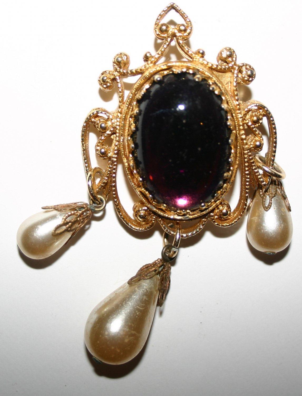 Vintage Golden Large Purple Jewel Golden Art Nouveau Surround and Three Pearls Brooch