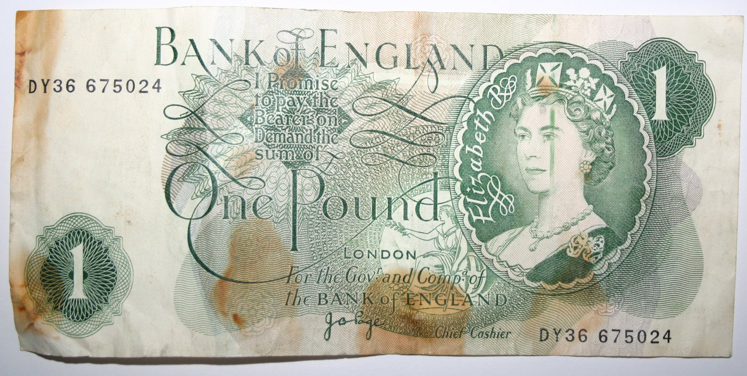 Banknote Bank of England, 1 Pound Note 1975 Signed by J. B. Page