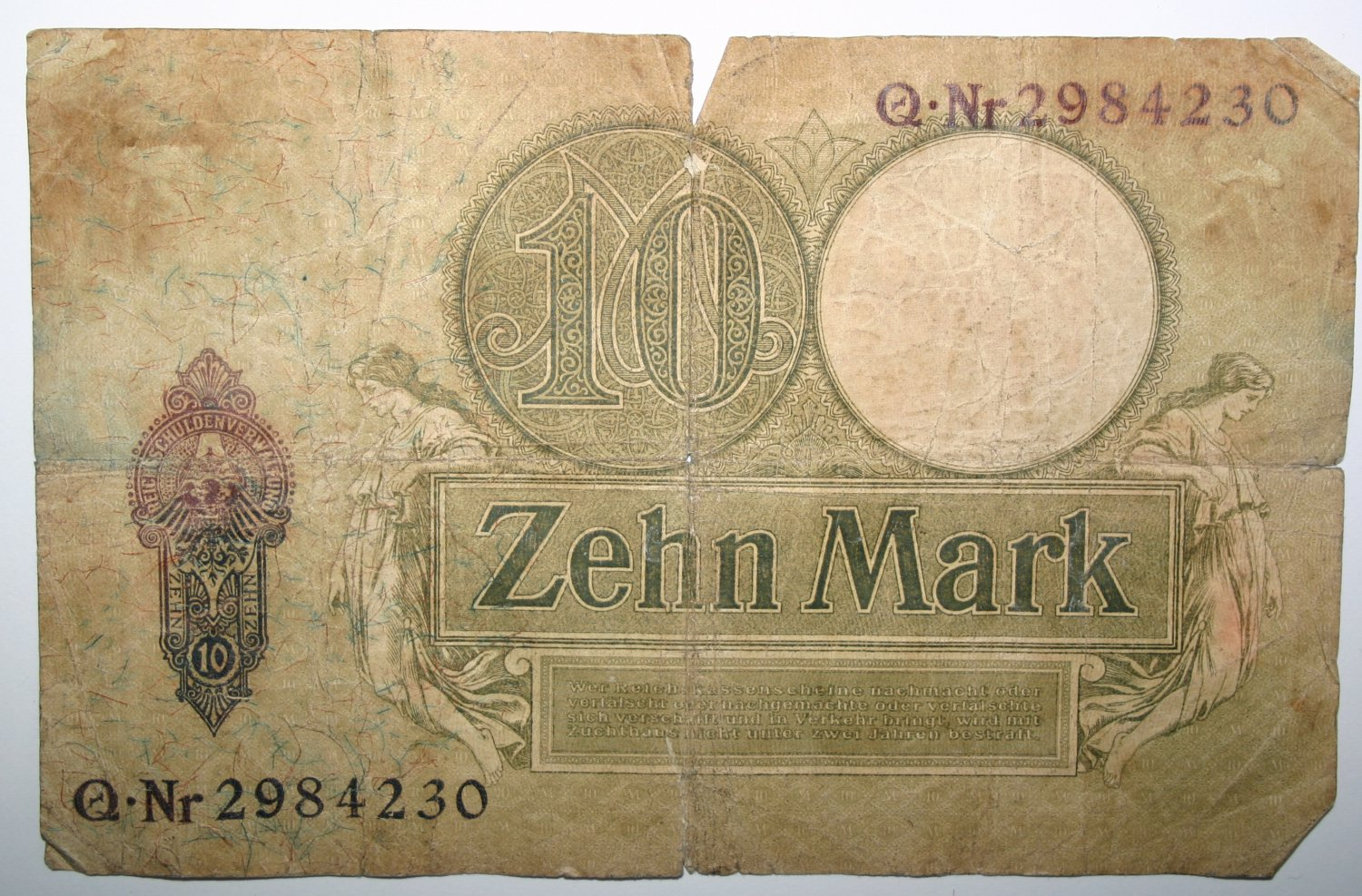 Banknote Reichskassenschein 10 Mark Berlin den 6.Oktober 1906 German Money Note