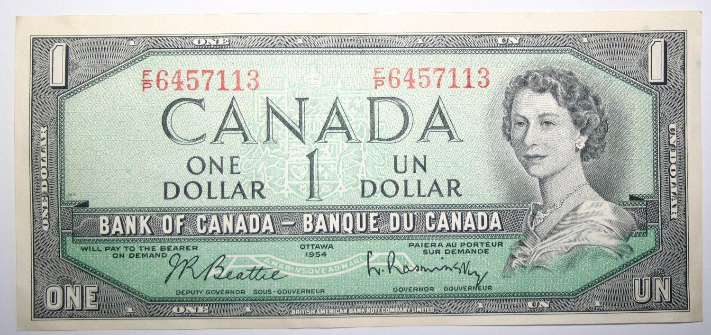 Banknote Bank of Canada Ottawa 1954 One Dollar Bill J.R. Beattie Queen Elizabeth