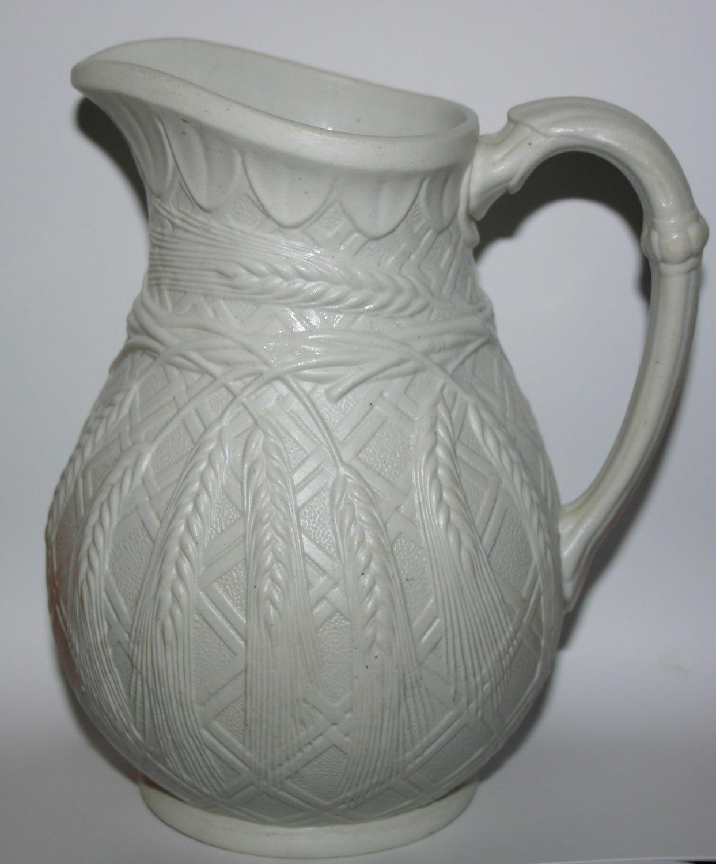 Antique Pottery Milk Jug With Wheatsheaf Design Base