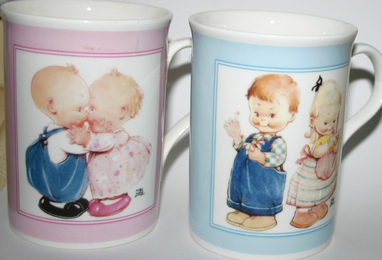 Mabel Lucie Attwell Children Helping Children Pair Of Mugs Limited Edition