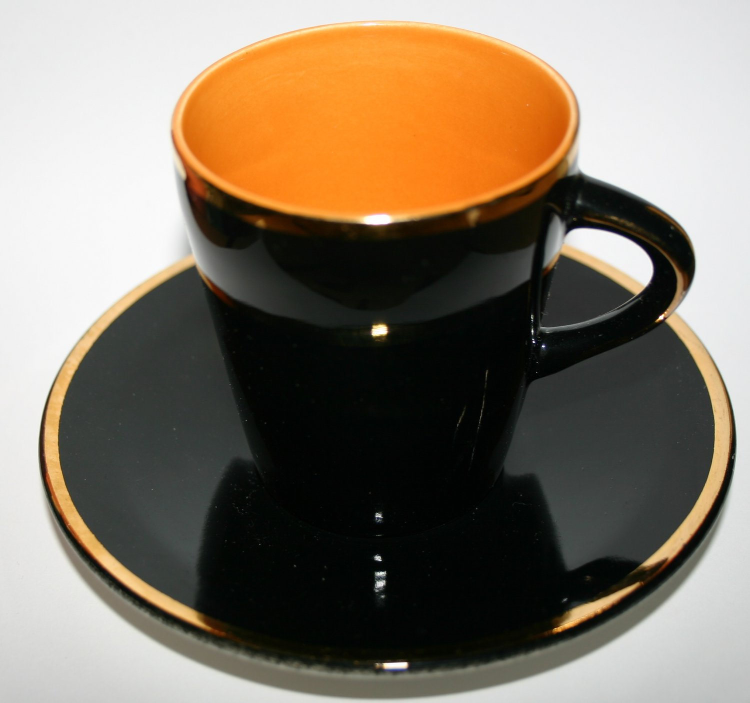 Vintage Palissy Pottery 22 Carat Gold Cup and Saucer Madeleine Design