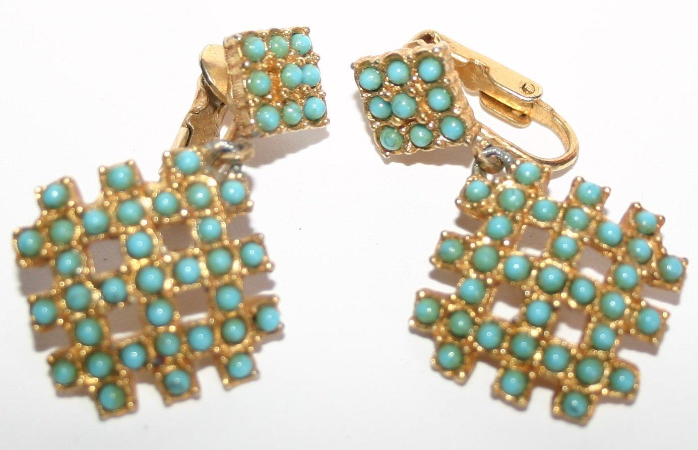 Vintage Art Deco Cubic Style Clip On Ladies Earrings