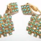 Vintage Art Deco Cubic Style Clip On Ladies Earrings