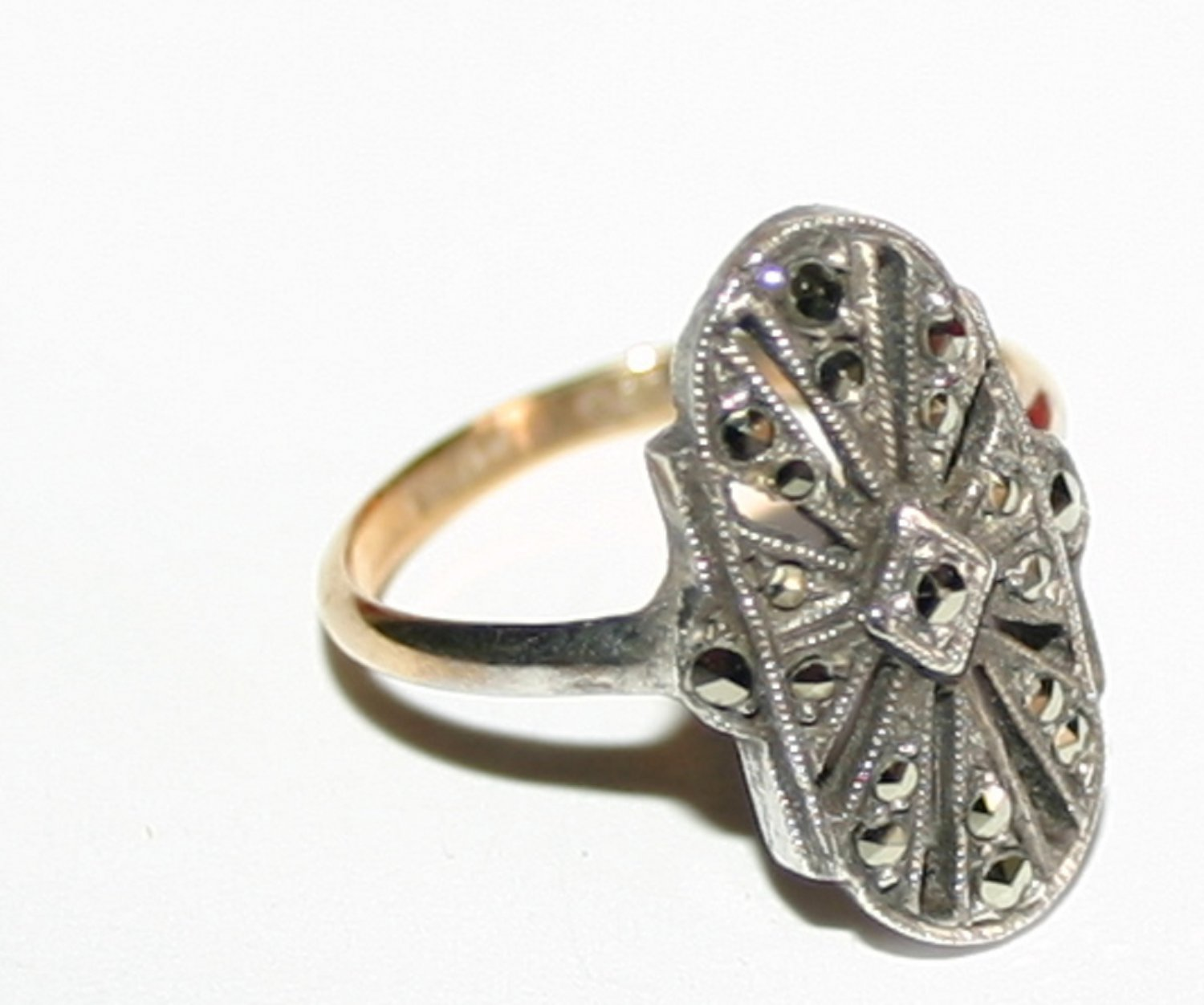 Vintage Silver Bespoke Art Deco Ring With Stones