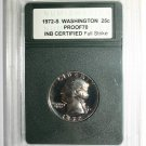 USA 1972-S Washington 25c Liberty Quarter Dollar Proof 70 INB Certified Coin