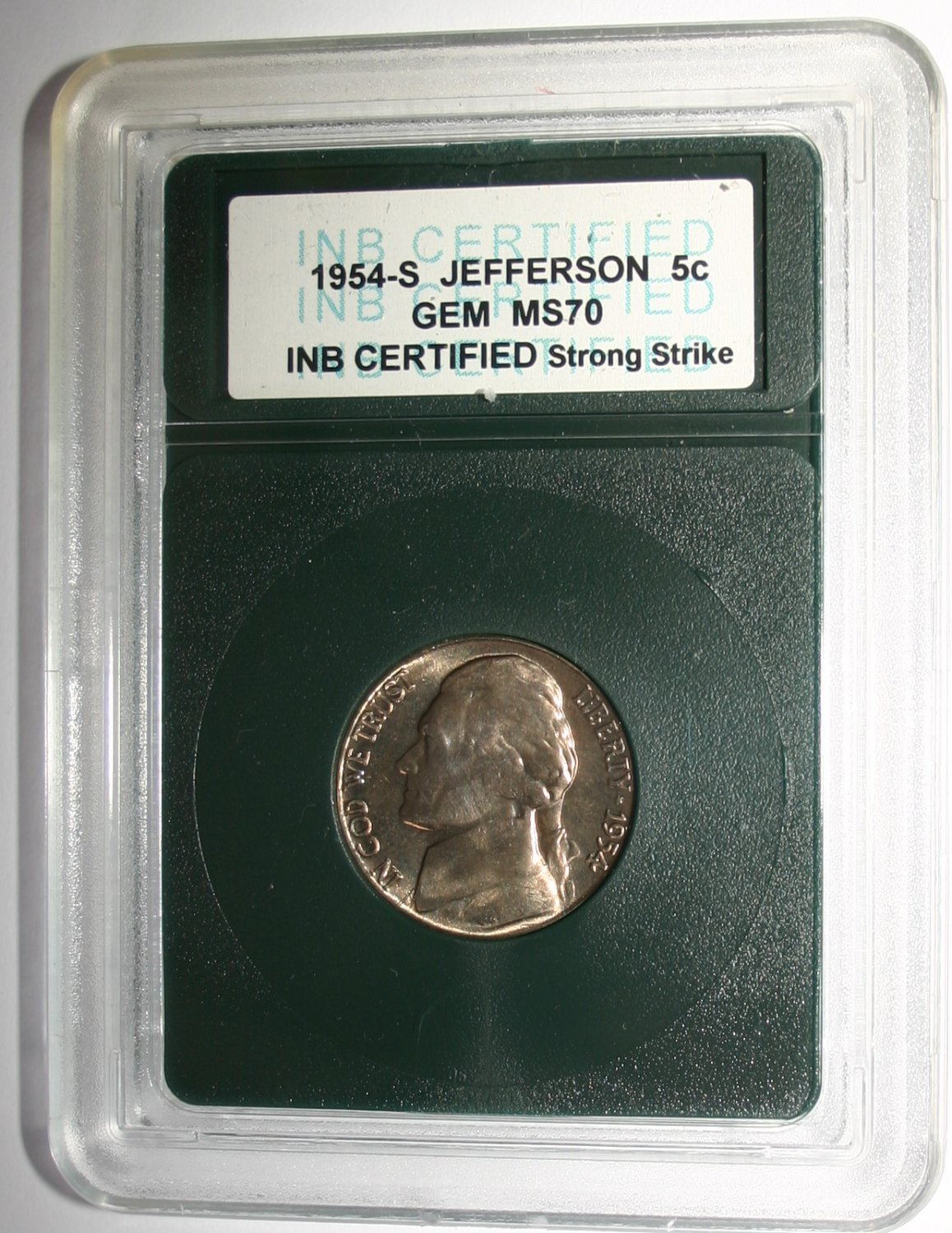 USA 1954-S Jefferson 5c Cent Coin GEM MS70 Strong Strike INB Certified Coin