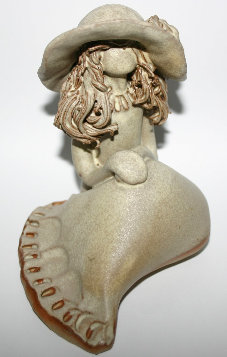 Vintage 1970s Handcrafted Stoneware Art Pottery Lady Sculpture Decorative Ornament