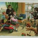 Mainzer Cats, Family Photo, 4984, Eugen Hartung, Vintage Postcard, Deckle Edge