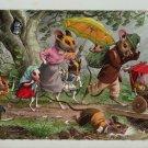 Mainzer Mice, Walk in the Rain, 4903, Eugen Hartung, Vintage Postcard
