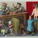 Mainzer Cats, At The Tailors, 4894, Eugen Hartung, Vintage Postcard, Deckle Edge