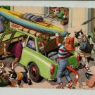 Mainzer Cats, Loading the Car, Vacation, 4977, Eugen Hartung, Vintage Postcard