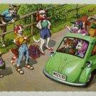 Mainzer Cats, Hitchhiking, 4936, Eugen Hartung, Vintage Postcard, Deckle Edge