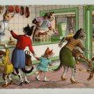Mainzer Cats, Butcher Shop, 4978, Eugen Hartung, Vintage Postcard, Deckle Edge
