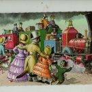 Mainzer Cats, All Aboard Train Ride, 4926, Eugen Hartung, Vintage Postcard