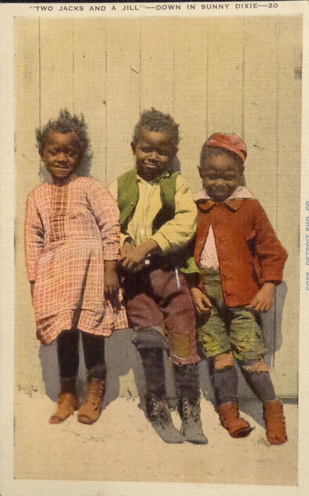 "Vintage RPPC Black Americana Postcard ""Two Jacks & a Jill Down in Dixie"""