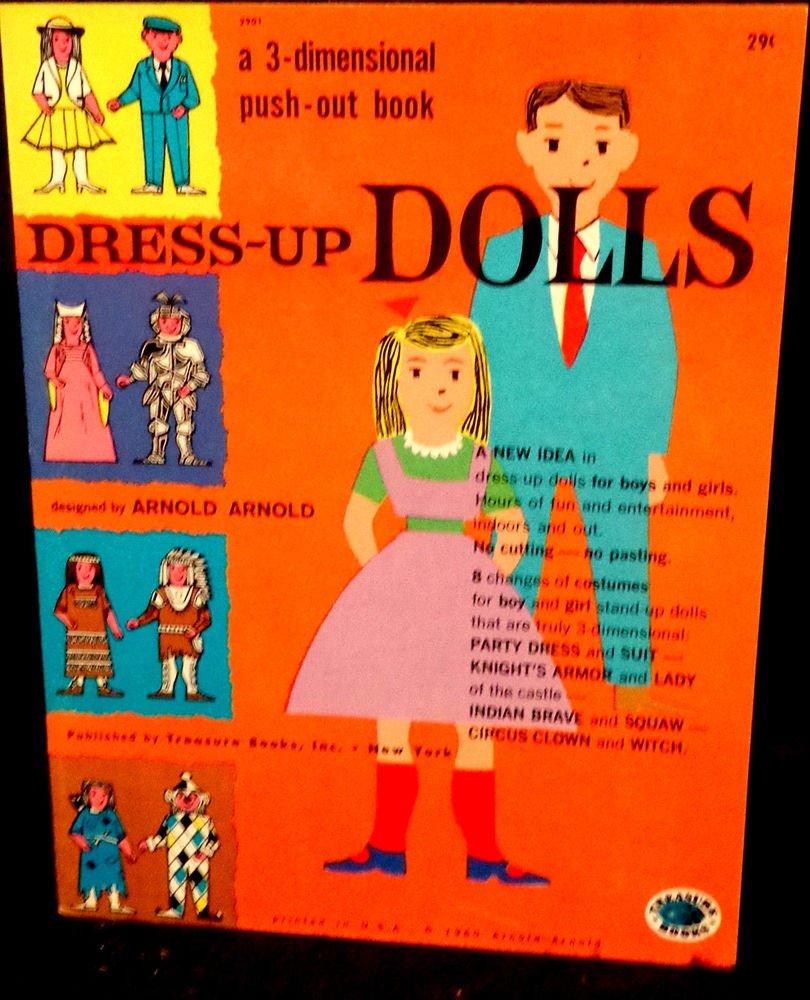 Vintage 3-Dimensional Push-Out Book  Dress-Up Dolls Treasure Books, Inc. 1960
