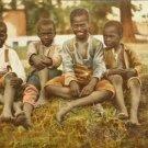 "Vintage Black Americana Postcard 'A Bunch of Boys""  RPPC Used Undivided Maine"